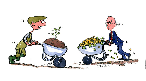 Drawing of a farmer with a wheelbarrow with soil and a sprout meeting businessman with a wheelbarrow filled with money. Illustration by Frits Ahlefeldt