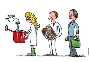 Drawing of a cue of people with water-cans and one with a basket trying to fill it with water from a tap. Illustration by Frits Ahlefeldt