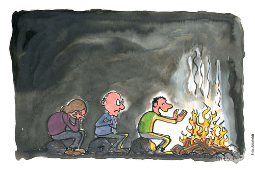 Drawing of people sitting in a cue to get warm by the fire. Illustration by Frits Ahlefeldt