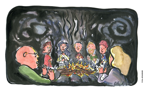 Drawing of a group of people sitting around a fireside at night. Illustration by Frits Ahlefeldt