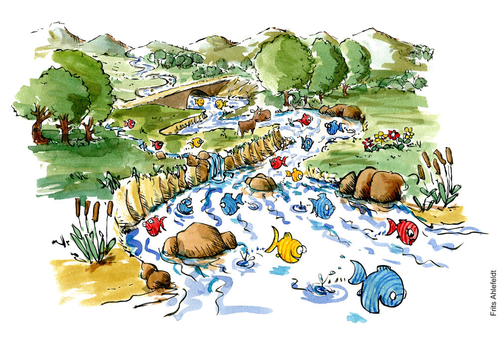 Drawing of happy fish swimming in a natural floating river. Environmental illustration by Frits Ahlefeldt