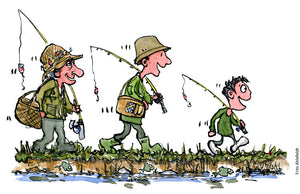 Drawing of three men going fishing together, grandfather, father and son. Illustration by Frits Ahlefeldt