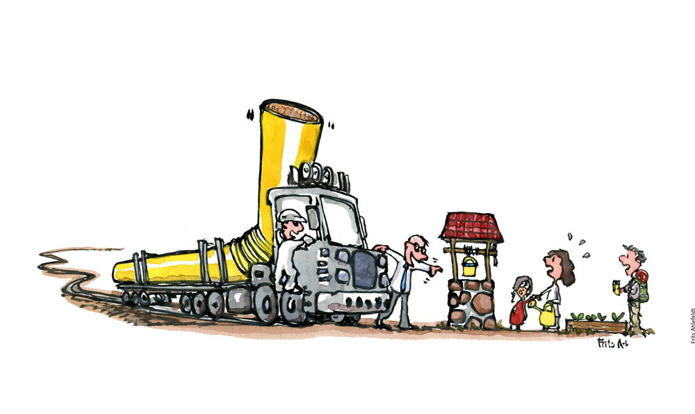 Drawing of of people around a small well getting water when a huge truck with a long straw arrives. Illustration by Frits Ahlefeldt