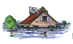 Drawing of a flooded house with people sitting on the roof, watching tv. Illustration by Frits Ahlefeldt