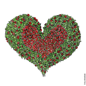 Drawing of a heart with red roses in middle and green around. Illustration by Frits Ahlefeldt