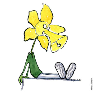 Drawing of a man half daffodil half human. Illustration by Frits Ahlefeldt