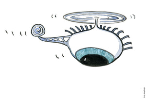 Drawing of a drone with an eye. Illustration by Frits Ahlefeldt