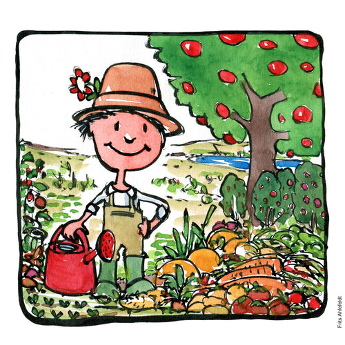Drawing of a gardener standing in landscape between fruits, vegetables, nuts and looking happy. illustration by Frits Ahlefeldt