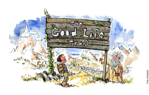 "Drawing of a hiker standing in front of a sign in a landscape. ""the good life trail"" an old man with beard beside it. Philosophy Drawing of a gardener standing in landscape between fruits, vegetables, nuts and looking happy. illustration by Frits Ahlefeldt"