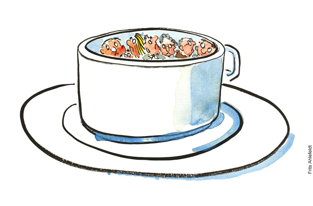 Drawing of a group of people hiding in a coffee cup. Drawing of a gardener standing in landscape between fruits, vegetables, nuts and looking happy. illustration by Frits Ahlefeldt