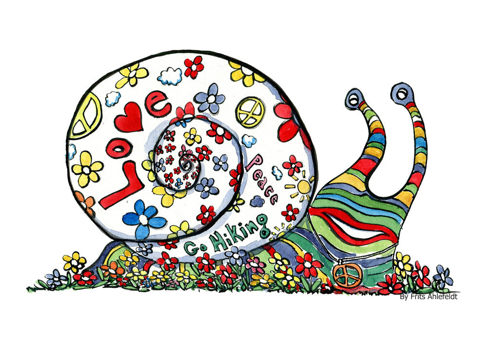 Drawing of a happy hippie snail in rainbow colors with love and peace signs on its house. Hiking Illustration by Frits Ahlefeldt