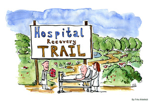 Drawing of a hospital recovery trail as an alternative healing method to just being passive. Illustration by Frits Ahlefeldt
