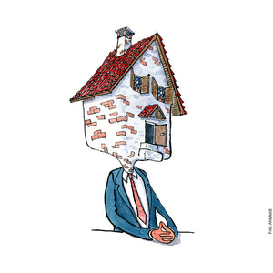 Di00263 Download Sitting house head man illustration