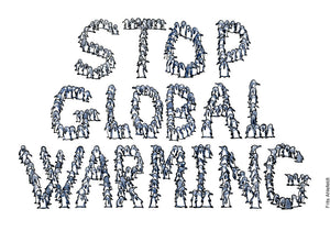 Drawing of a group of penguins that stands so the make the words: Stop Global Warming. Environment and climate change illustration by Frits Ahlefeldt