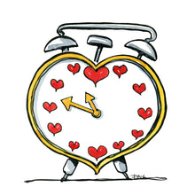 Load image into Gallery viewer, The Love heart alarm Clock illustration by Frits Ahlefeldt