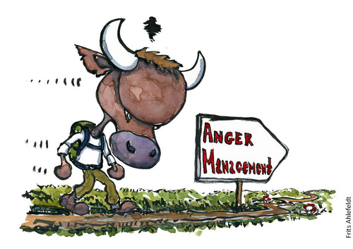 Drawing of anger bull walking along sign saying anger management. Illustration by Frits Ahlefeldt