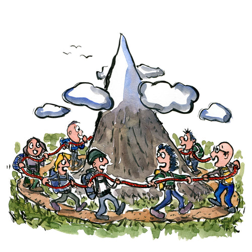 Group of hikers in a rope, walking around a mountain. Illustration by Frits Ahlefeldt
