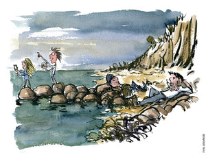 Drawing of people resting on beach while kids throw stones in the water. Illustration by Frits Ahlefeldt