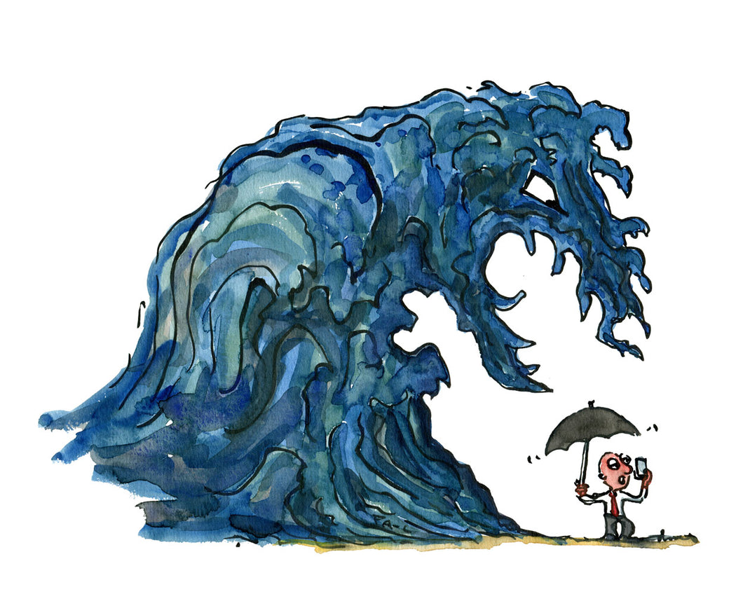 Great wave above little man with umbrella and phone. illustration by Frits Ahlefeldt