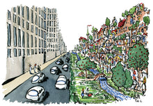 Load image into Gallery viewer, Car city vs green city design illustration by Frits Ahlefeldt