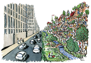 Car city vs green city design illustration by Frits Ahlefeldt