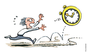 drawing of a man chasing a clock. Time illustration by Frits Ahlefeldt