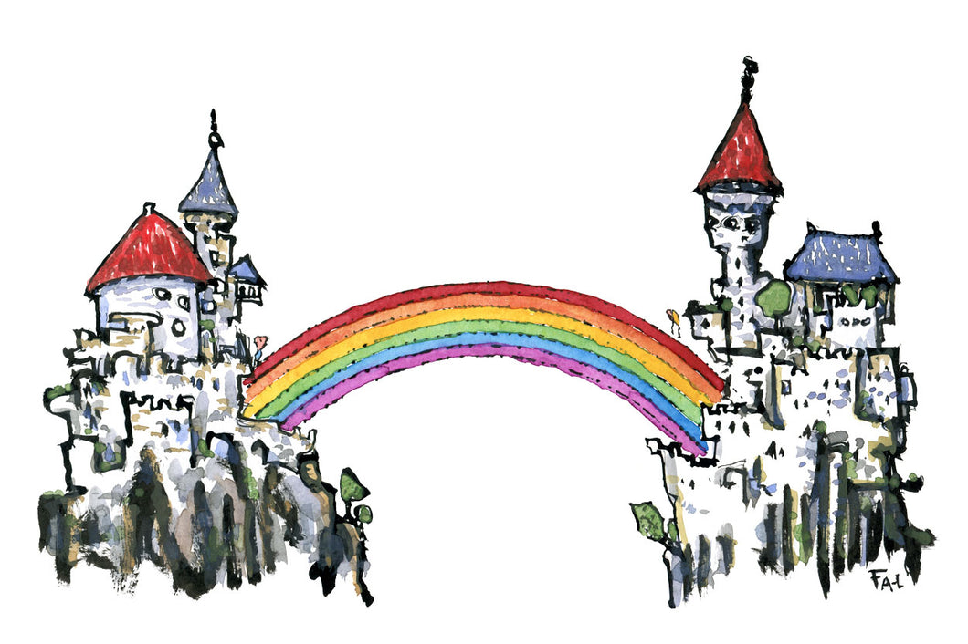 Rainbow bridge castle illustration by Frits Ahlefeldt