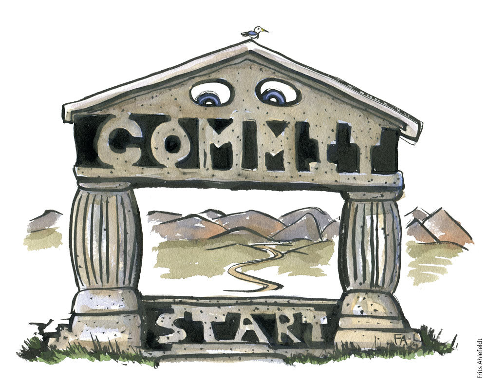 Drawing of a gate with the word