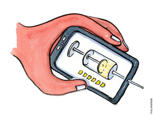 Drawing of a hand holding a digital syringe on a smartphone. Illustration by Frits Ahlefeldt