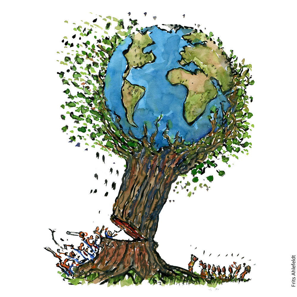Drawing of a gigantic tree with planet Earth in it being felled by a group of business people. Illustration by Frits Ahlefeldt