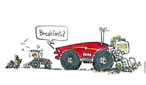 "Drawing of a huge self driving tractor that meets old tractor and farmer... The robot ask ""breakfast?"" Technology and farming Illustration by Frits Ahlefeldt"