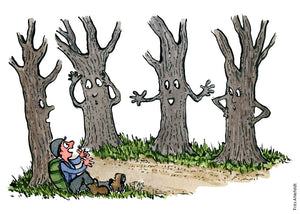 Drawing of a hiker sitting by a group of trees talking to him. Illustration by Frits Ahlefeldt