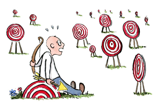 Man with arrow sitting looking at many targets. illustration by Frits Ahlefeldt