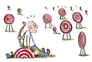 man sitting looking at targets illustration by Frits Ahlefeldt