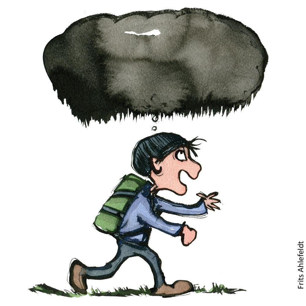Drawing of a hiker with a dark thought cloud over his head. Illustration by Frits Ahlefeldt