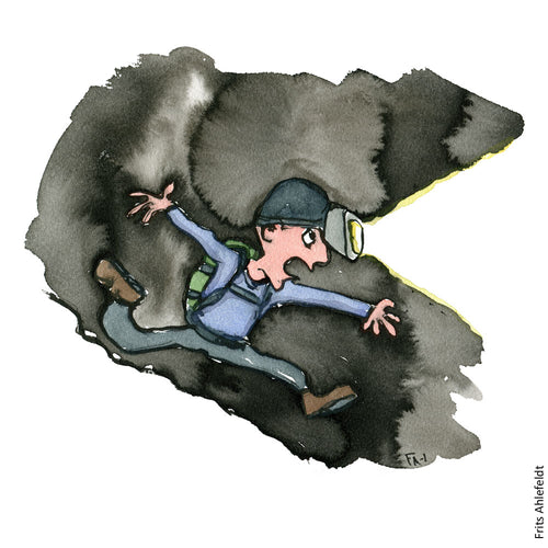 Drawing of a hiker running through the night. Illustration by Frits Ahlefeldt