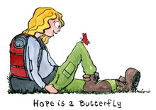 Load image into Gallery viewer, Illustration Hope is a butterfly drawing by Frits ahlefeldt of hiker sitting