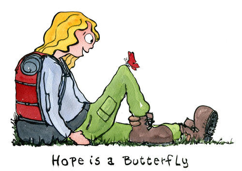 Illustration Hope is a butterfly drawing by Frits ahlefeldt of hiker sitting