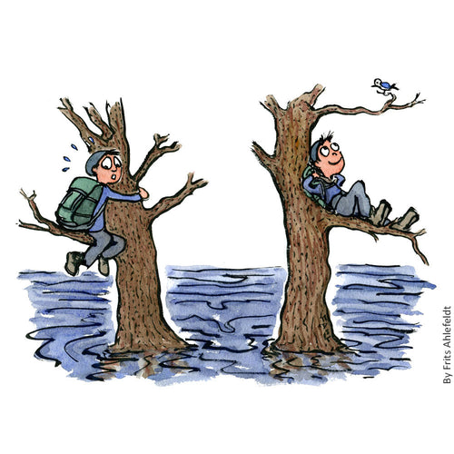 Drawing of a hiker sitting in a tree with water under him, two versions one where he is fearful and one where he is relaxed and happy. Drawing about fear by Frits Ahlefeldt