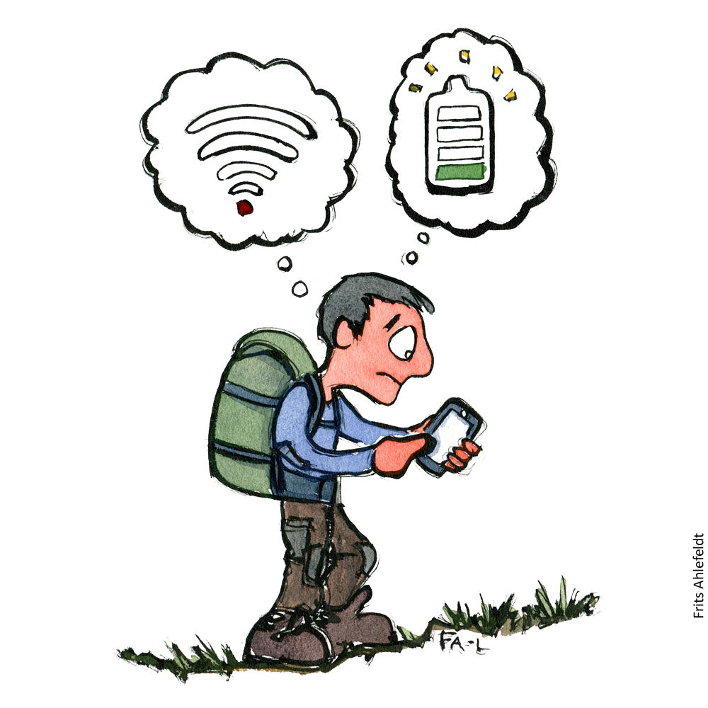 Drawing of a hiker looking at phone without network or power. Hiking illustration by Frits Ahlefeldt