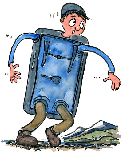 man half phone half hiker, walking. Illustration by Frits Ahlefeldt