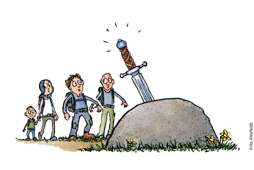 Drawing of People approaching a stone with a sword (Excalibur, in it. Psychology illustration by Frits Ahlefeldt