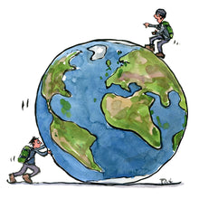 Load image into Gallery viewer, A man pushing planet earth another man on top of the planet. Illustration by frits Ahlefeldt