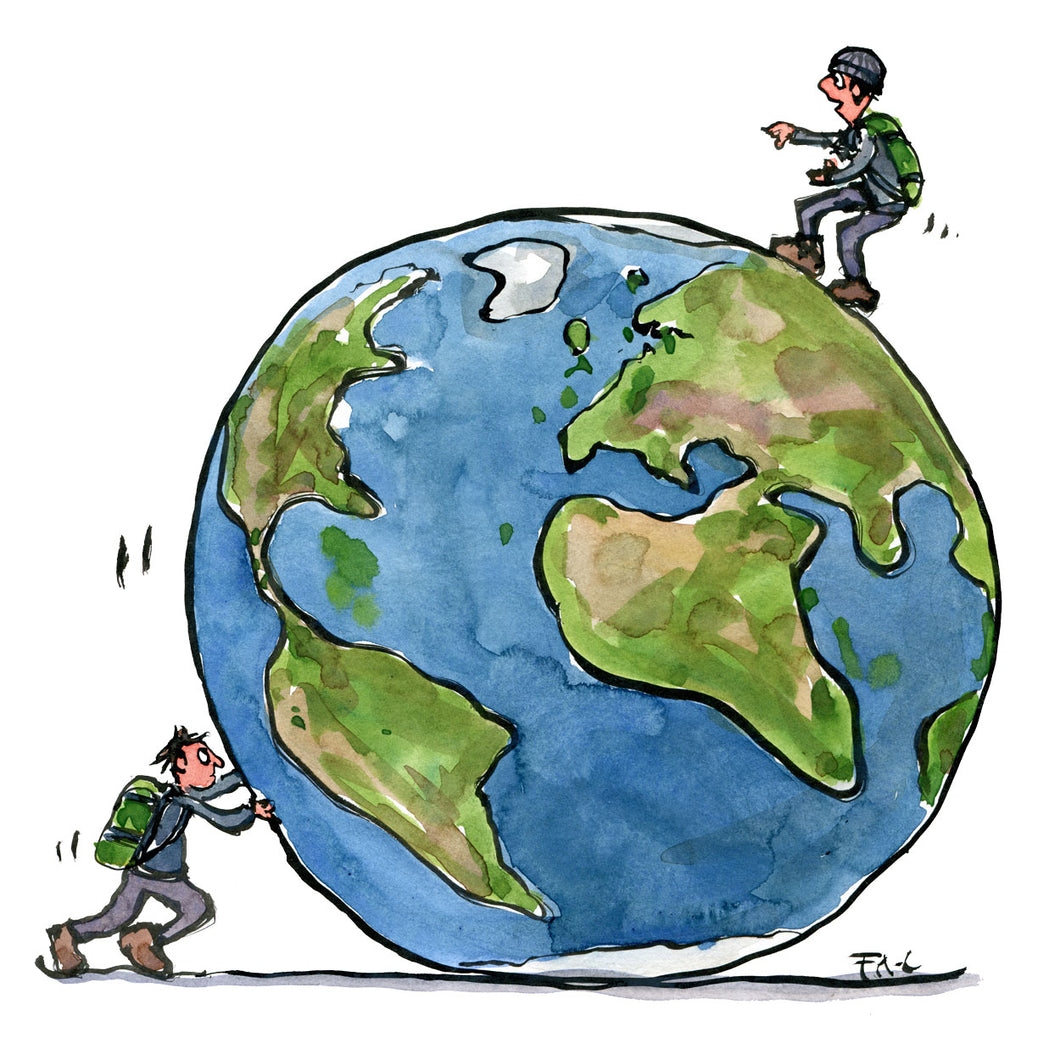 A man pushing planet earth another man on top of the planet. Illustration by frits Ahlefeldt