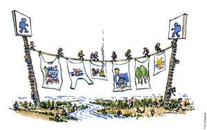 Drawing of a hiking trail made like a line for drying clothes, with tiny walkers on it. Illustration by Frits Ahlefeldt