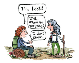 Girl hiker sitting looking lost saying i'm lost. illustration by Frits Ahlefeldt