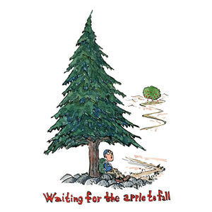 Waiting for the apple to fall under a pine tree illustration by Frits Ahlefeldt