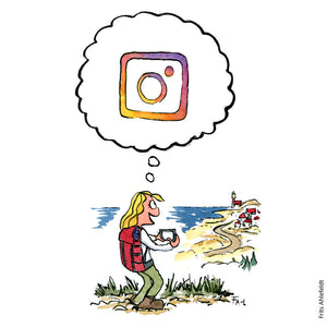 Drawing of a girl with backpack hiking and thinking about Instagram and social media. Illustration by Frits Ahlefeldt