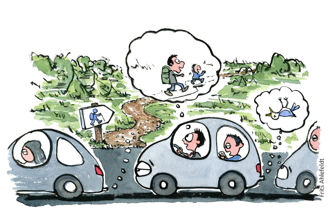 Man sitting in car daydreaming about going hiking with his kid. Illustration by Frits Ahlefeldt