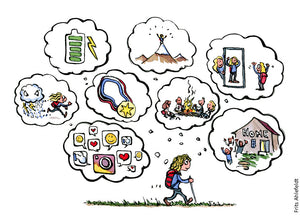 Drawing of a hiker walking while motivation and thoughts change along the way. Illustration by Frits Ahlefeldt